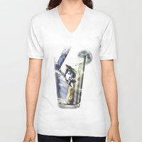 cocktail V-neck T-shirts featuring Space Cocktail by AkuMimpi