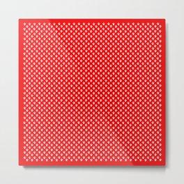 Tiny Paw Prints Pattern - Bright Red & White Metal Print