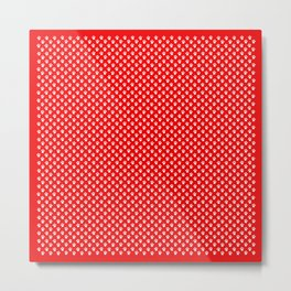 Tiny Paw Prints Pattern - Bright Red & White Metal Print