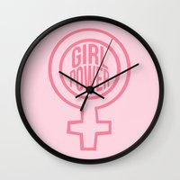 girl power Wall Clocks featuring girl power by jupiter