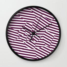 Mulberry Strip - Voronoi Stripes Wall Clock