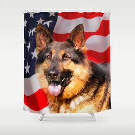 German shepherd Dog Patriot Red Blue White Shower Curtain