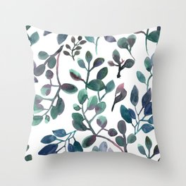 Jade and Succulent Watercolor Plant Pattern Throw Pillow