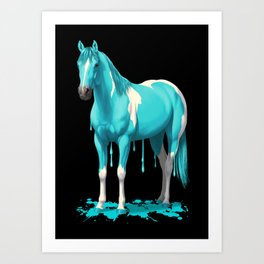 Cyan Blue Funny Wet Paint Horse Art Print