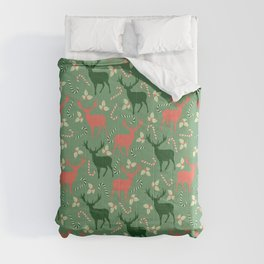 Hand painted Christmas green coral deer candy pattern Comforters