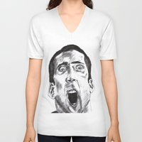 nicolas cage V-neck T-shirts featuring NICOLAS CAGE in CHARCOAL face/off face off film movie cult by Radiopeach