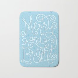Merry and Bright Ice Blue Bath Mat