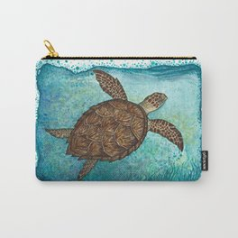 """""""Hawksbill Sea Turtle"""" by Amber Marine ~ Watercolor & Sea Salt Painting, (Copyright 2016) Carry-All Pouch"""