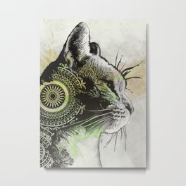 Tides Of Tomorrow: Lime | mandala cat portrait Metal Print