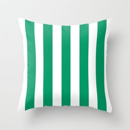 Green-cyan - solid color - white vertical lines pattern Throw Pillow