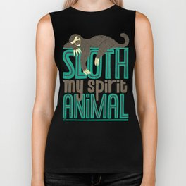 Sloth Is My Spirit Animal Biker Tank