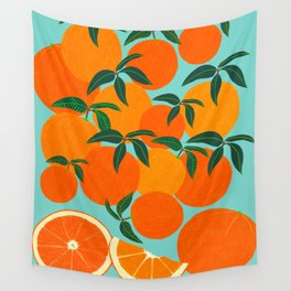 Orange Harvest - Blue Wall Tapestry