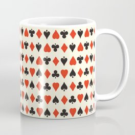 Retro pattern with card suits. Endless background of hearts, diamonds, clubs, spades hand drawn illustration Coffee Mug