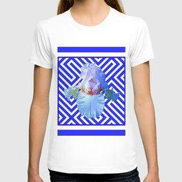 CONTEMPORARY BLUE & WHITE PATTERN IRIS PATTERN T-shirt