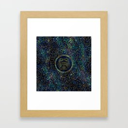 Cancer Zodiac Gold Abalone on Constellation Framed Art Print