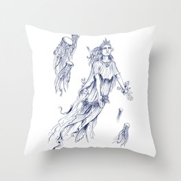Sea Posse III - Jellyfish, Navy Print Throw Pillow