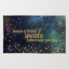 Leave a little sparkle wherever you go - gold glitter Typography on dark space backround Rug