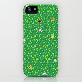 animal crossing cute grass pattern iPhone Case