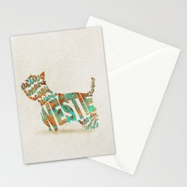 West Highland White Terrier Typography Art / Watercolor Painting Stationery Cards