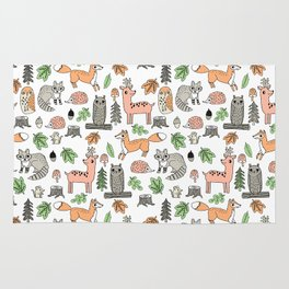 Woodland foxes rabbits deer owls forest animals cute pattern by andrea lauren Rug