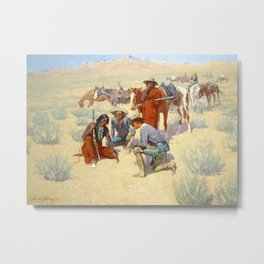 """Western Art """"A Map in the Sand"""" by Frederic Remington Metal Print"""