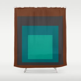 Block Colors - Browns and Teals Shower Curtain
