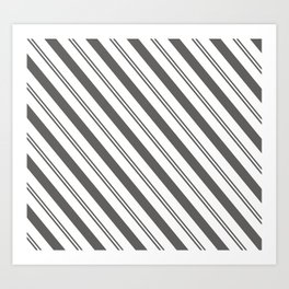Pantone Pewter and White Stripes Angled Lines Art Print