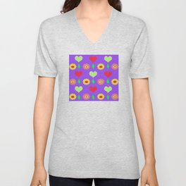 Purple daisy and heart all over print Unisex V-Neck