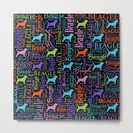 Beagle  Word Art pattern Metal Print