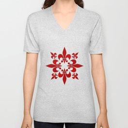 Fleur de Lis pattern Unisex V-Neck