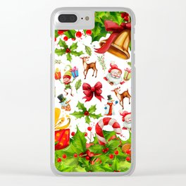 Holiday festive red green holly Christmas pattern Clear iPhone Case