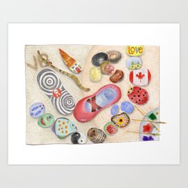 """S IS FOR THE SAND BETWEEN YOUR TOES  [""""Every stone has a story to tell.""""] Art Print"""