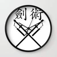sword Wall Clocks featuring China Sword by Littlebell