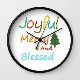 Joyful Merry and Blessed Christmas Shirt Wall Clock
