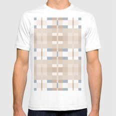 Beige and Blue Color Blocks Geometric Pattern White Mens Fitted Tee SMALL