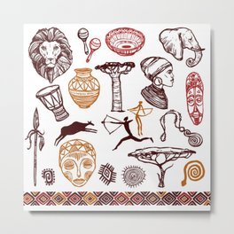 Africa doodle set Metal Print