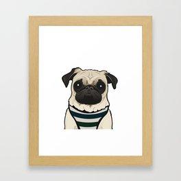 Doug the Pug - White BG Framed Art Print