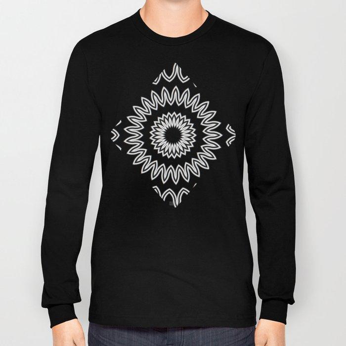 Mandala Fractal in Black and White Long Sleeve T-shirt