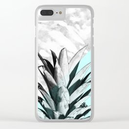 Pineapple Top Marble Pastel Blue Clear iPhone Case