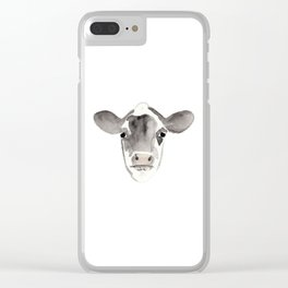 Watercolor Cow Clear iPhone Case