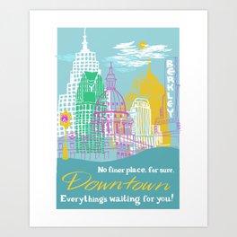 WPA Style Downtown (Detroit) Illustrated Print  Art Print