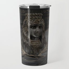 Cleopatra on Egyptian pyramids landscape Travel Mug