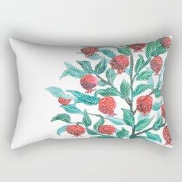 Persephone- Pomegranate Tree on White Rectangular Pillow