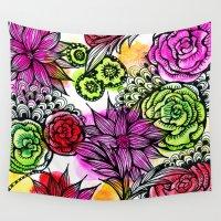 alisa burke Wall Tapestries featuring colorful flower doodles by Alisa Burke