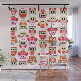 Funny cute hot pink yellow owl pattern Wall Mural