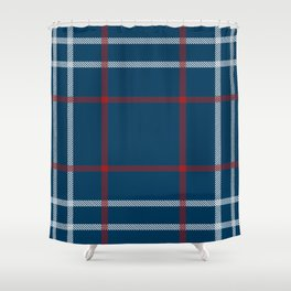 Red, White & Blue Plaid Tartan Pattern Shower Curtain