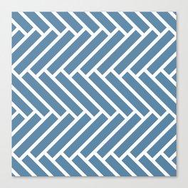 Grayish blue and white herringbone pattern Canvas Print