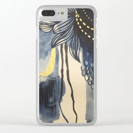 Indigo Mood with Gold Original Painting by Rachael Rice Clear iPhone Case