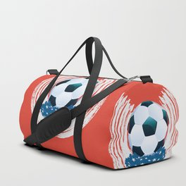 Football Ball and red, white Strokes Duffle Bag