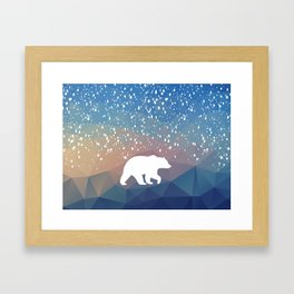 Beary Snowy in Blue Framed Art Print